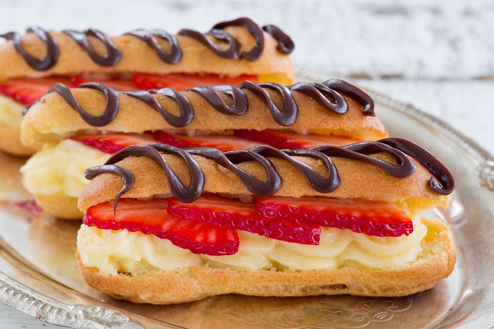Dairy Free Eclairs Filled with Vanilla Coconut Cream, Strawberries and Chocolate
