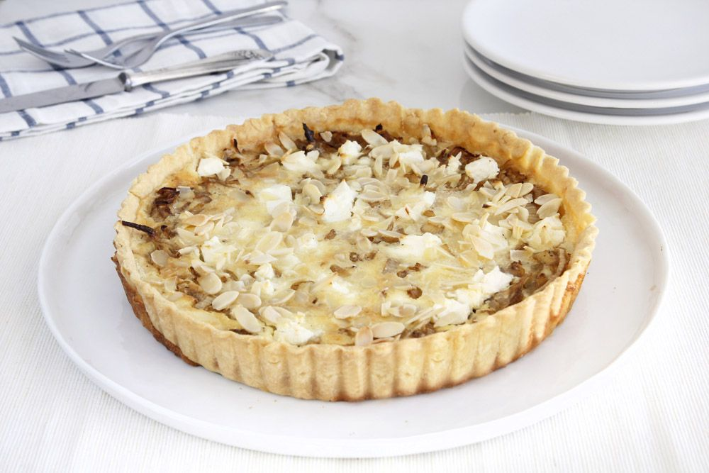 Onion Quiche with Almonds and Parmesan