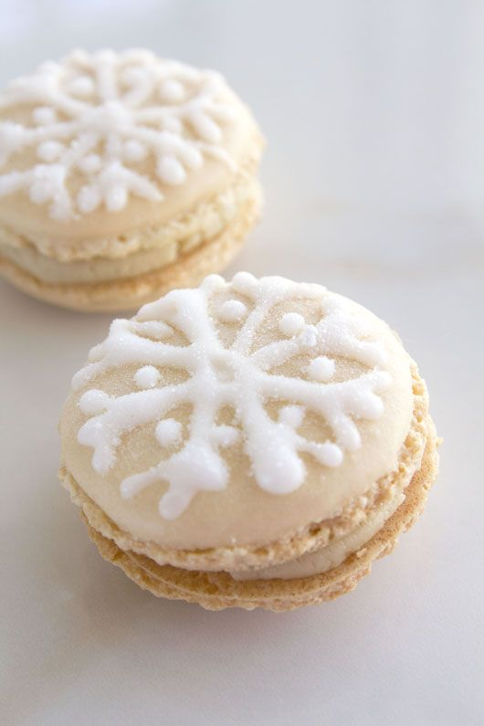 "Halva and Chocolate ""Snow"" Macarons"
