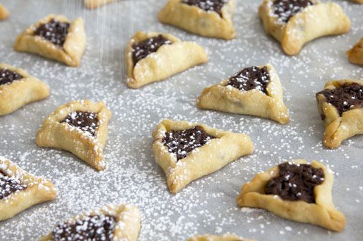 Vegan Hamantaschen Cookies filled with Chocolate and Chestnuts
