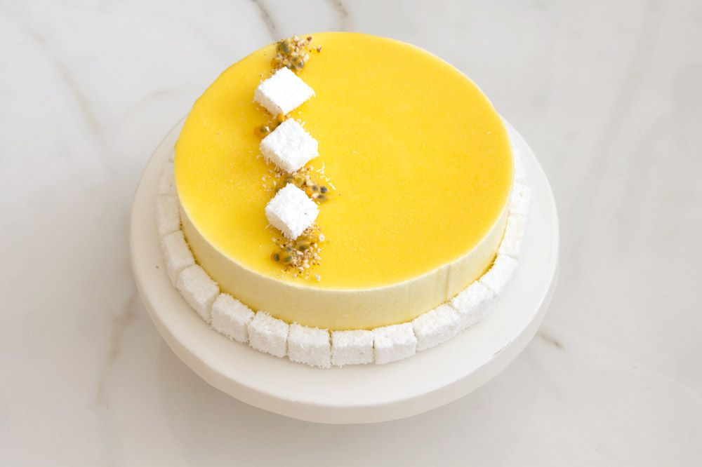 Passion Fruit Mousse Cake with Coconut and Vanilla