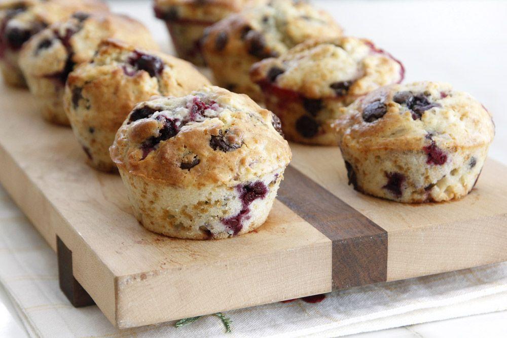 Chocolate Chip Muffins with Yogurt and Berries