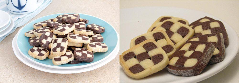 עוגיות שחמט בשחור-לבן