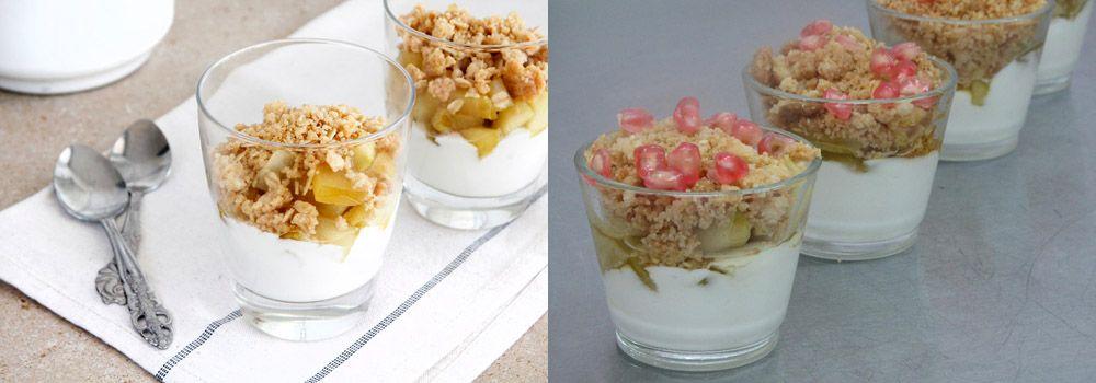 קינוח תפוחים, קרם יוגורט ושטרויזל שקדים