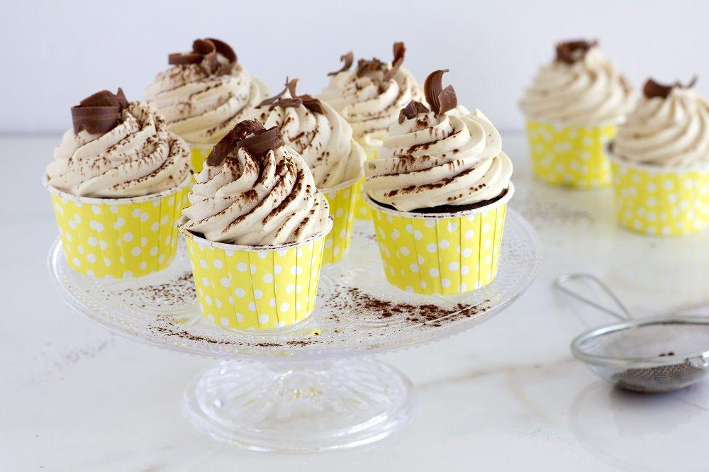 Banana Chocolate Cupcakes with Coffee Whipped Cream