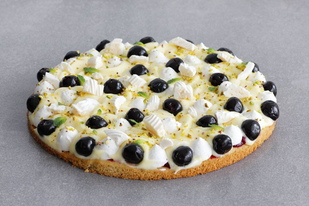 Lemon Tart with Pistachio and Amarena Cherries