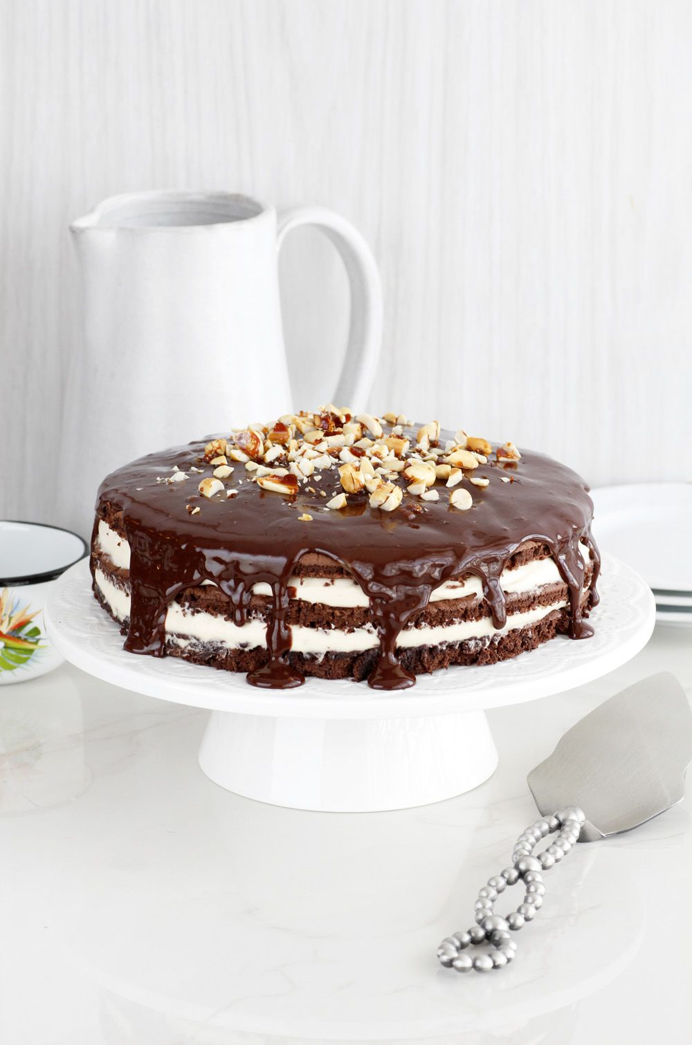 Gluten Free Chocolate Layer Cake with Peanut Butter Cream