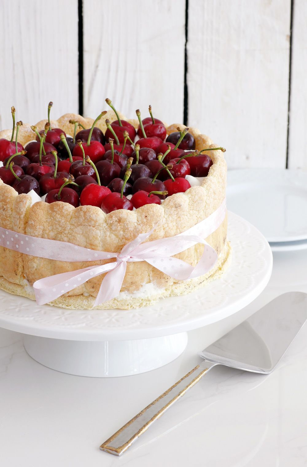 Cherry Charlotte Cake with Mascarpone Mousse