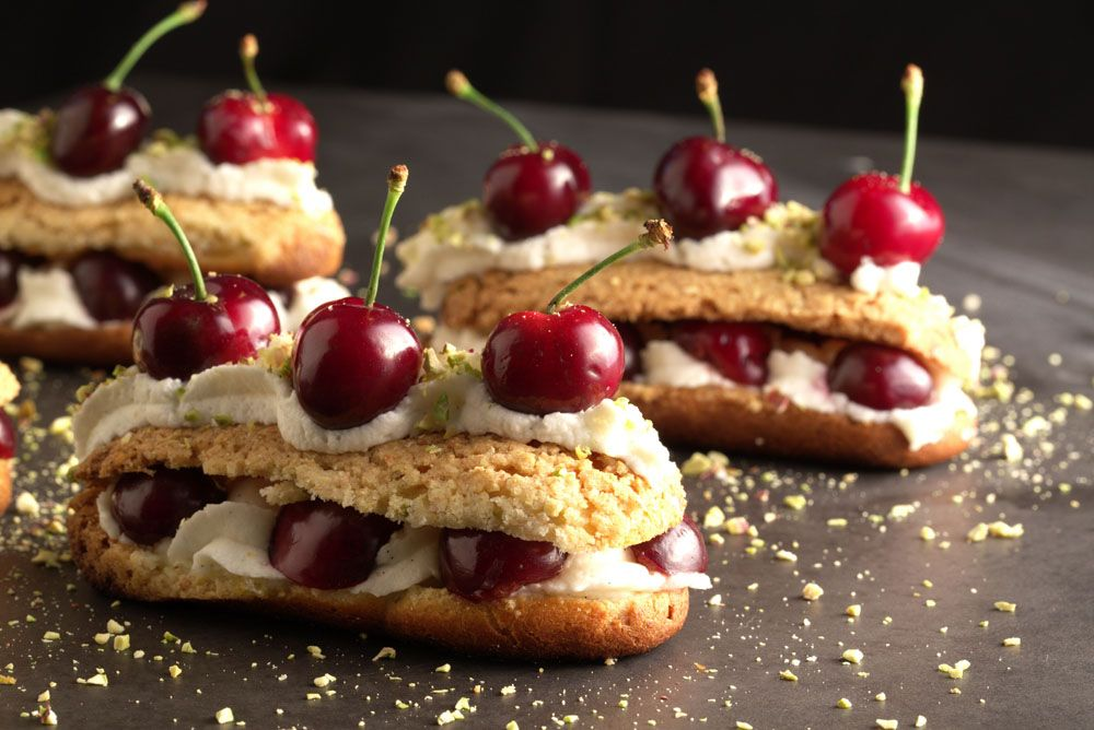 Cherry Eclairs with Mascarpone Cream and Pistachios