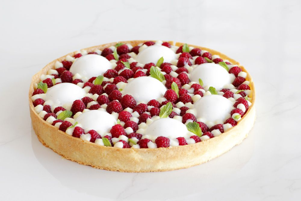 Minty Lemon Tart with Yogurt and Raspberries