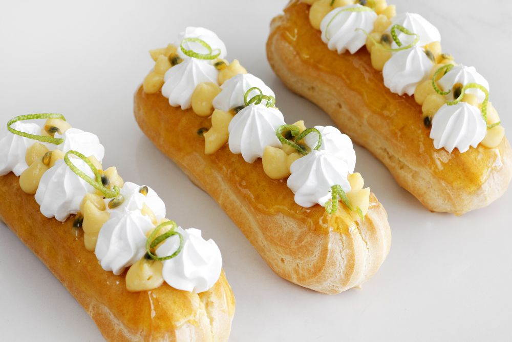 Passion Fruit Eclairs with Italian Meringue
